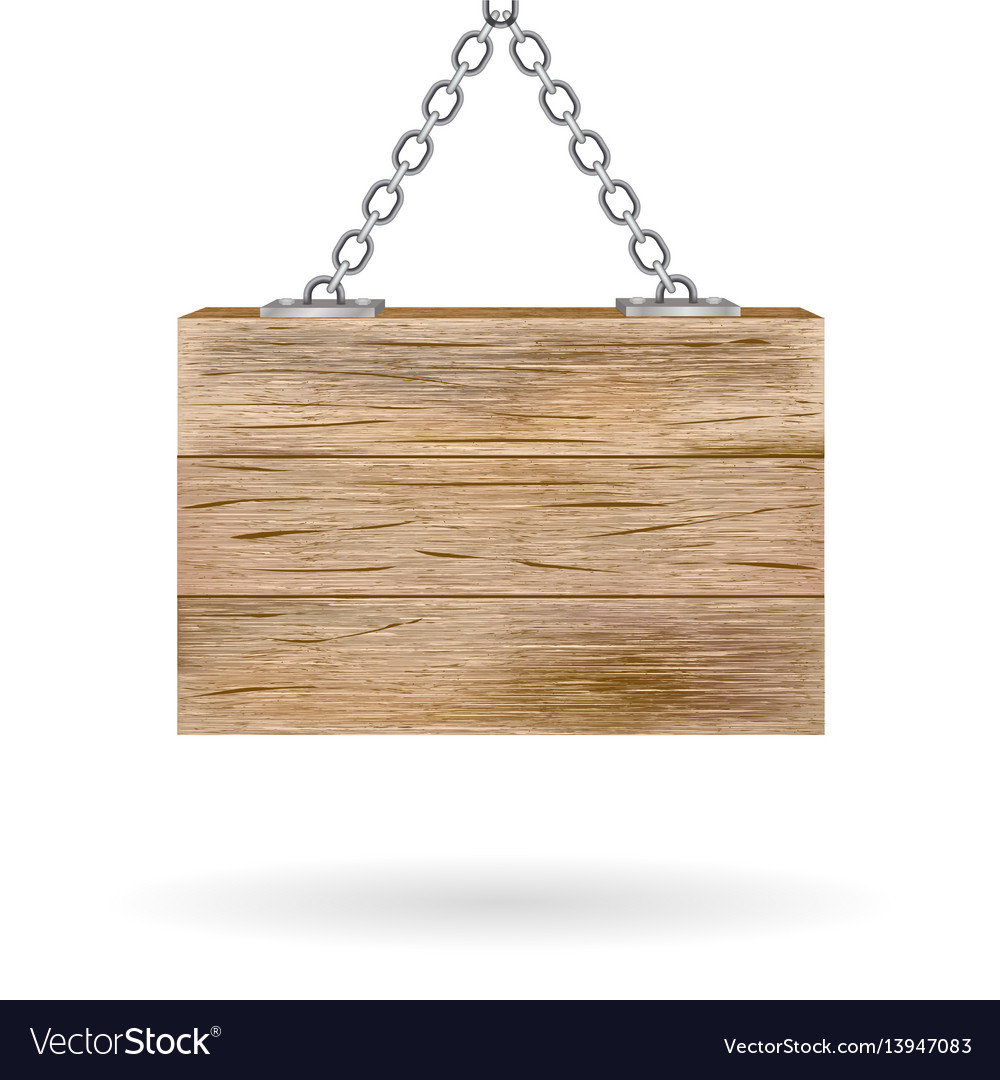 Blank wooden signboard hanging on chain