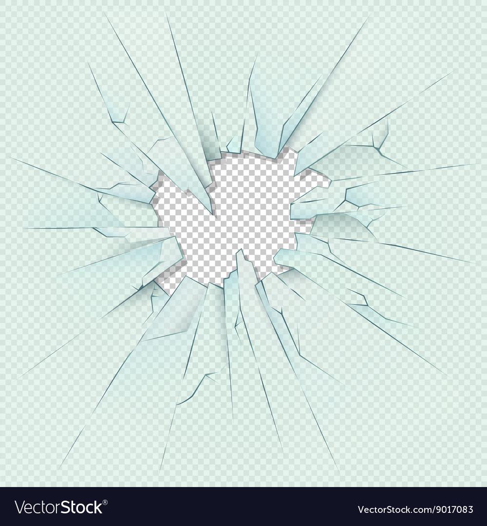 Broken transparent glass on checkered plaid