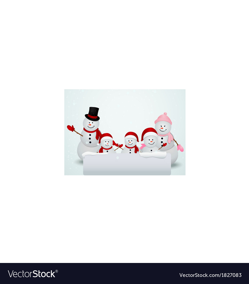 Christmas card with snowman and family
