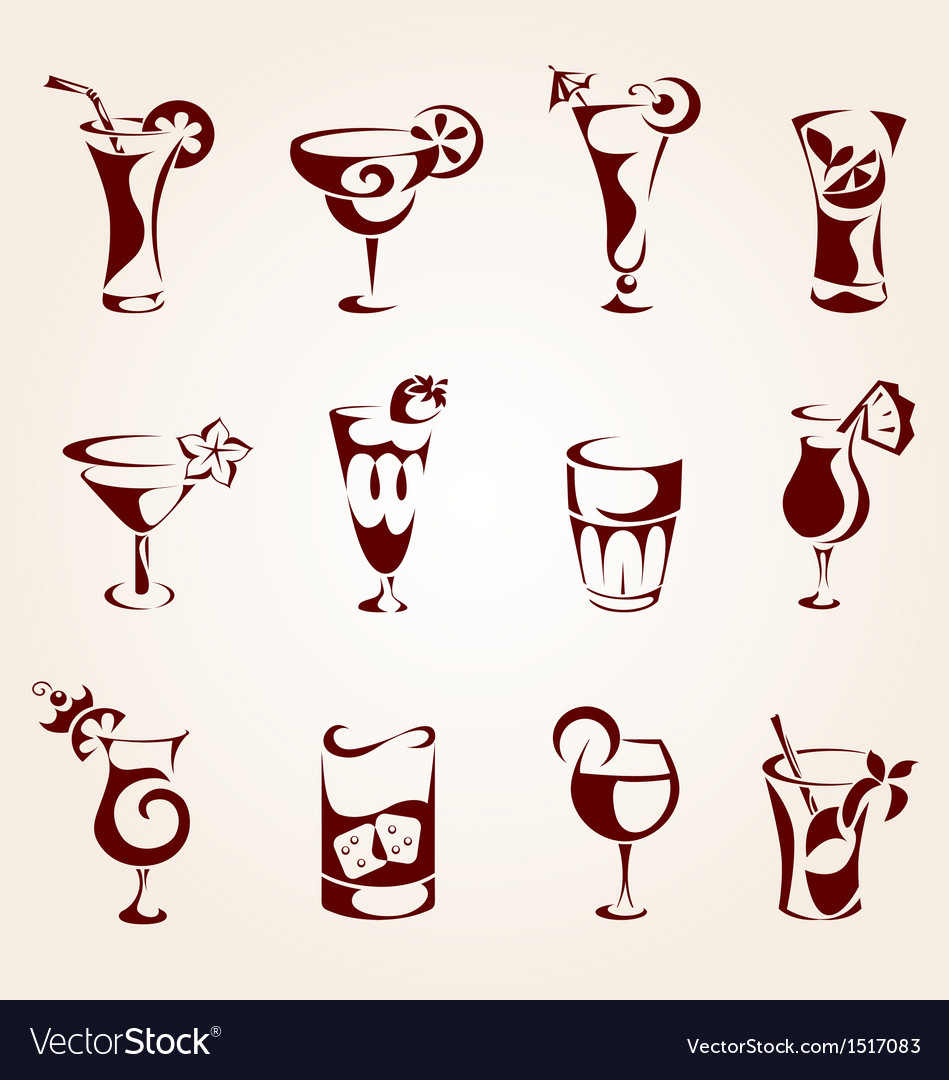 Cocktails icons vector image
