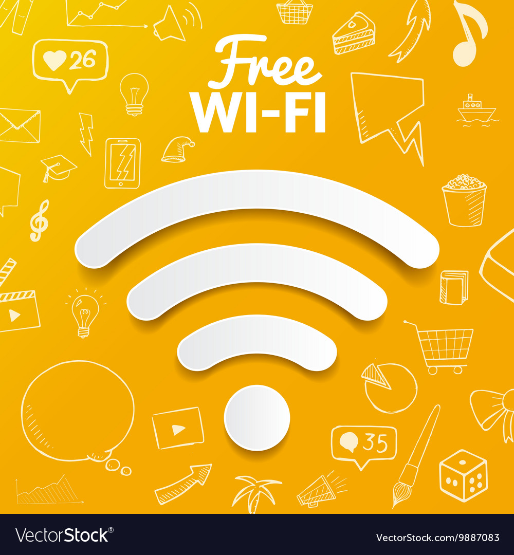 Free wi-fi signal on background with doodle