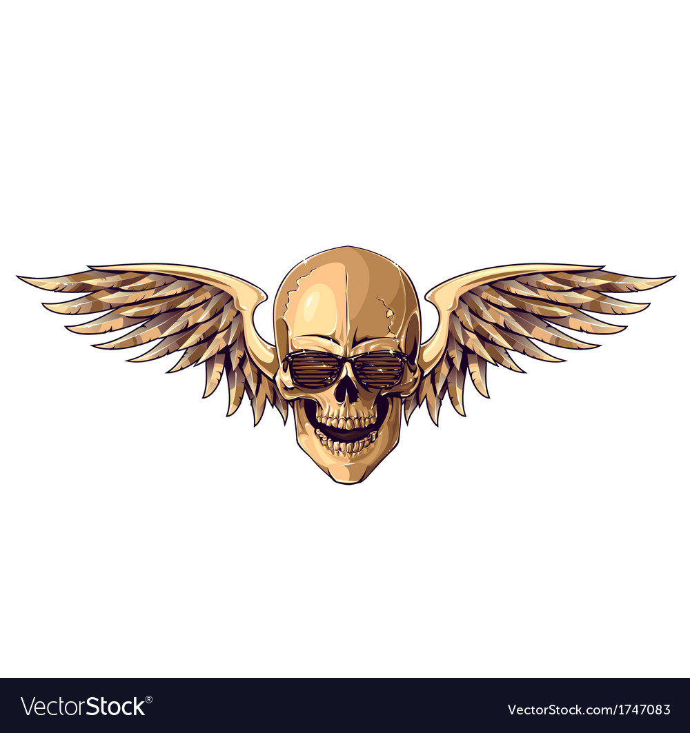 Hipster skull with wings