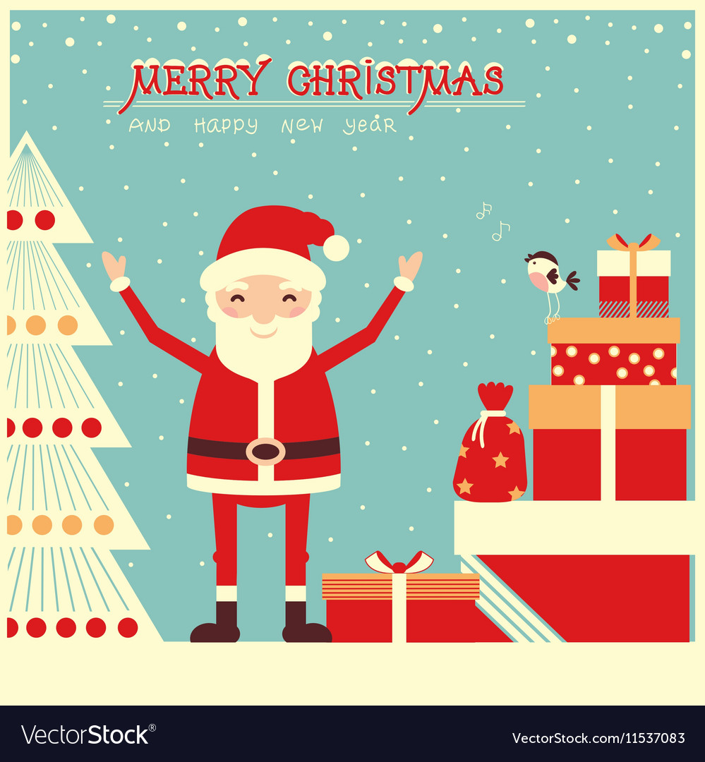 Merry christmas card with Santa Claus and holiday