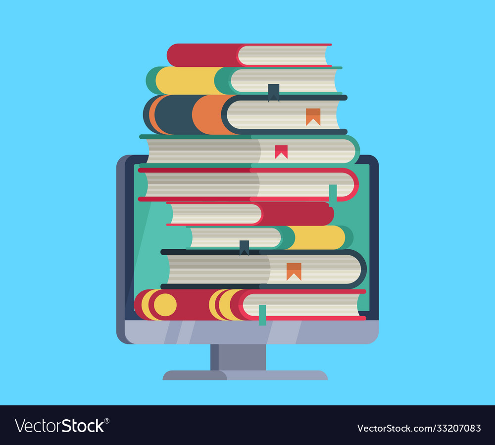 Online library flat computer with stack books