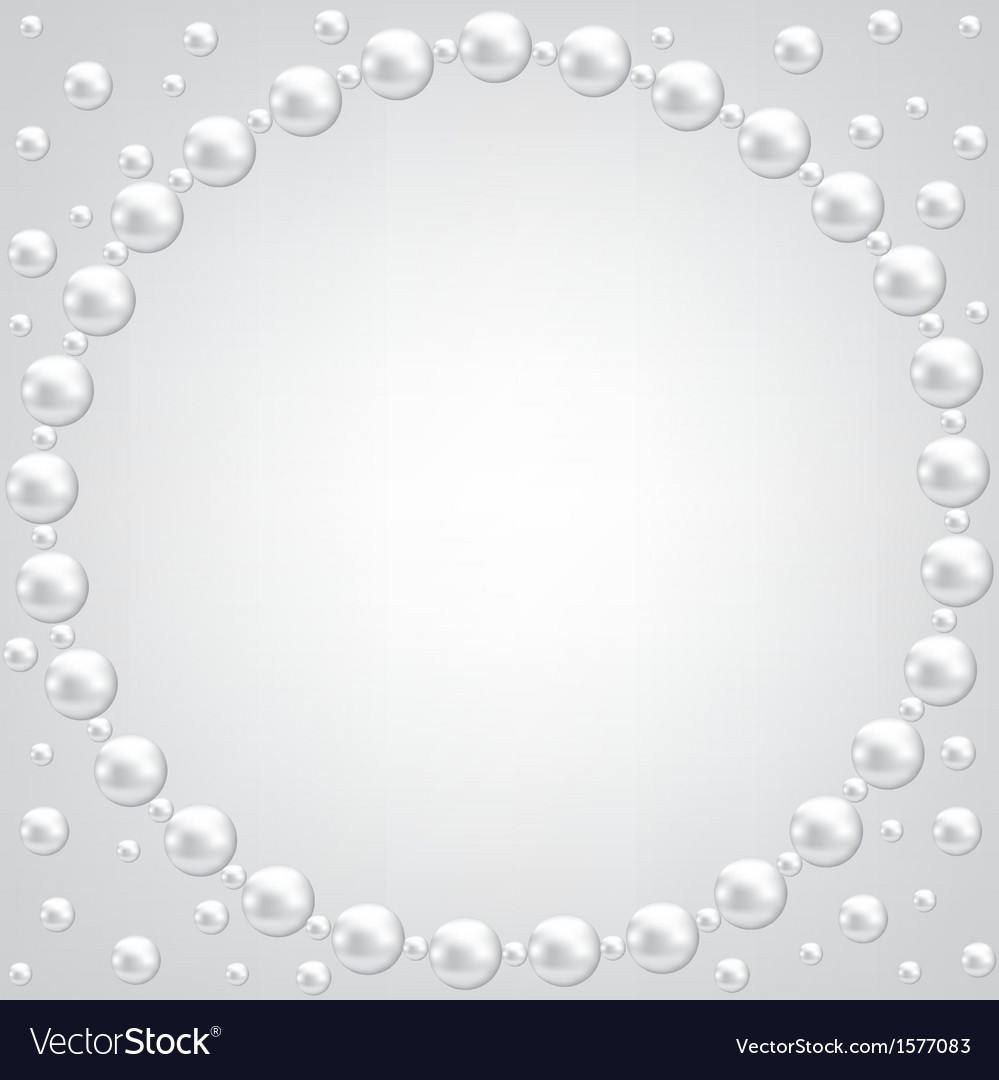 Pearl frame on gray background