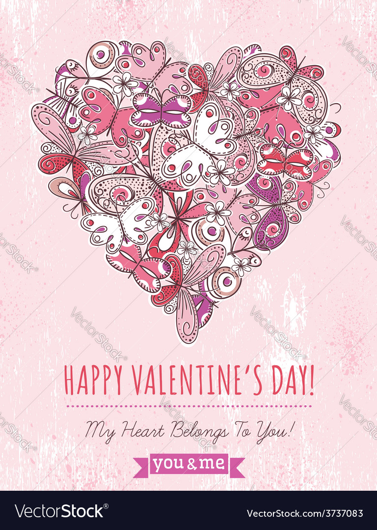 Pink grunge background with valentine heart