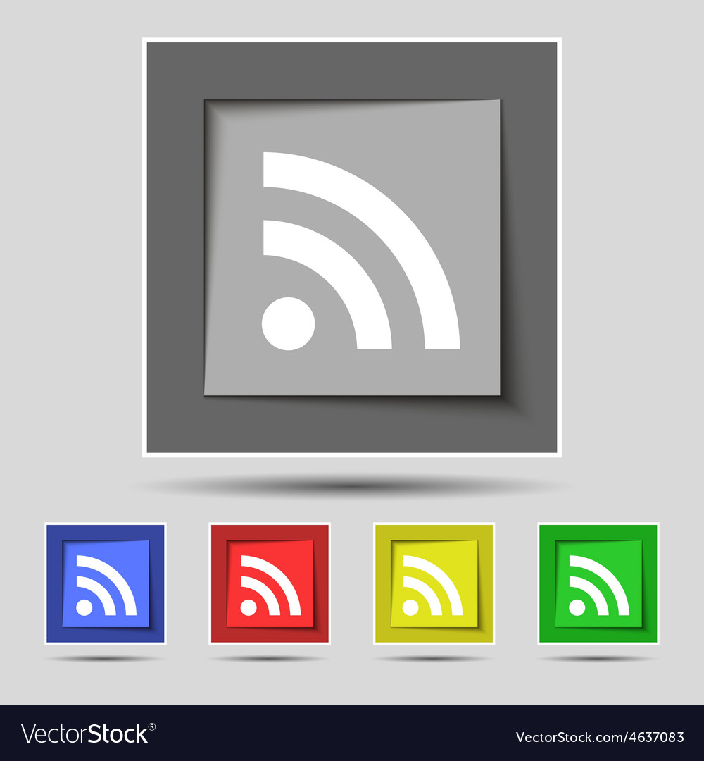 RSS feed icon sign on the original five colored