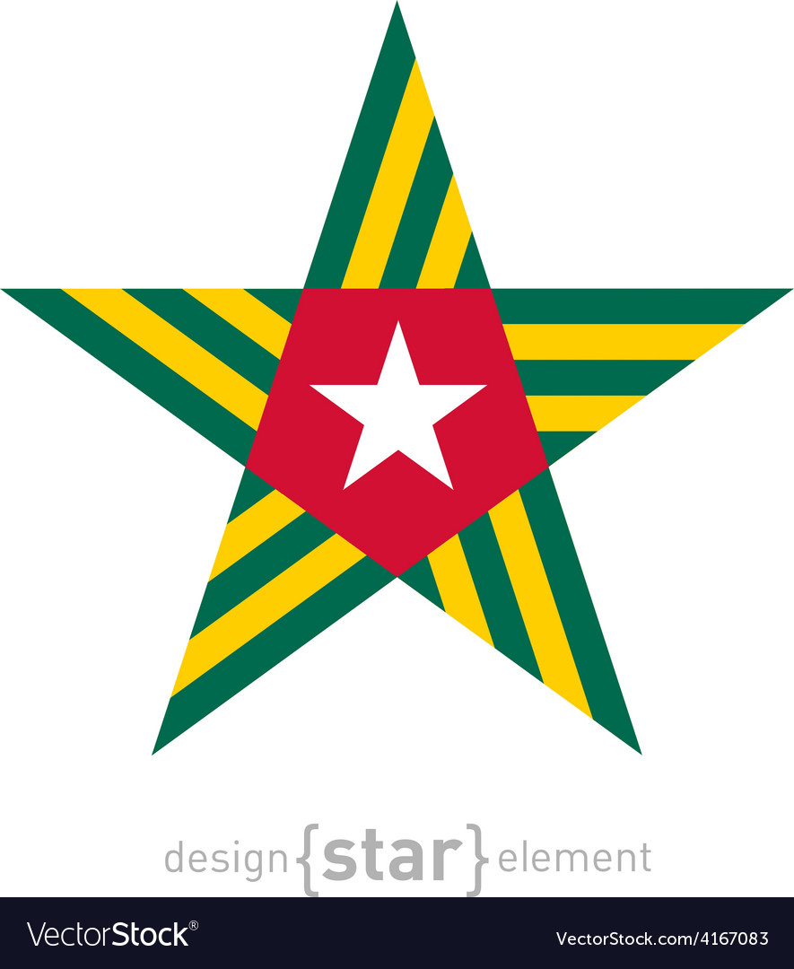Star With Togo Flag Colors And Symbols Design Vector Image