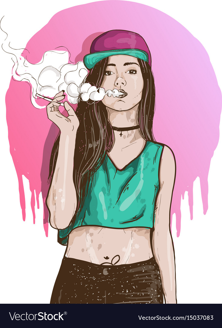 Vape swag girl vector image