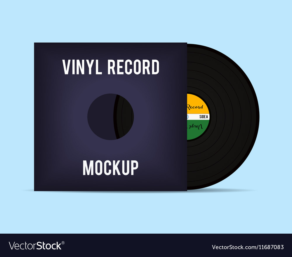 Vinyl template Vinyl Record with Cover Mockup