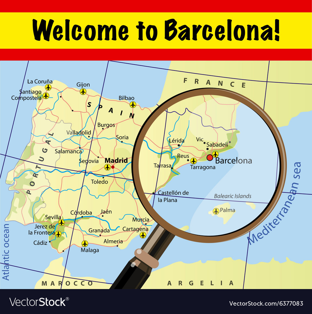 Map Of Spain With Airports.Welcome To Spain Barcelona With Airports On Map