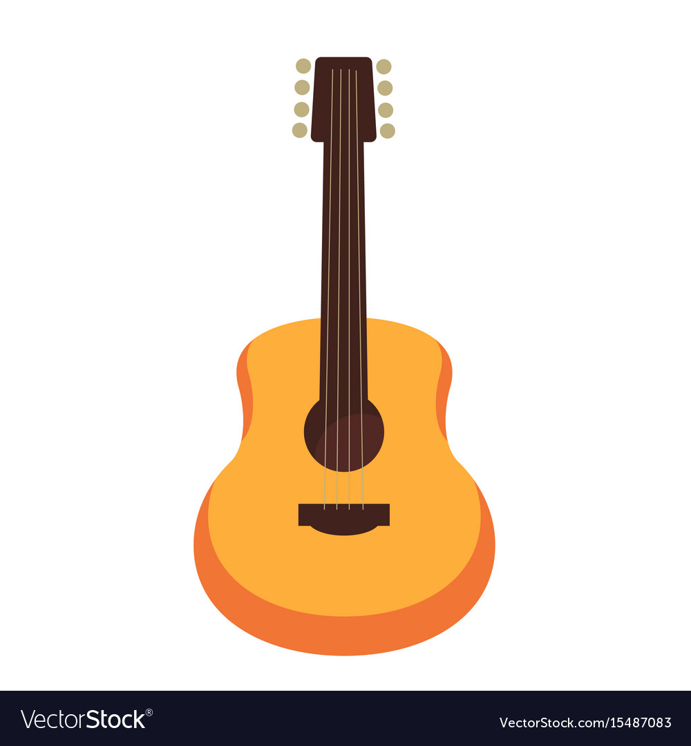 Wooden acoustic guitar isolated flat cartoon