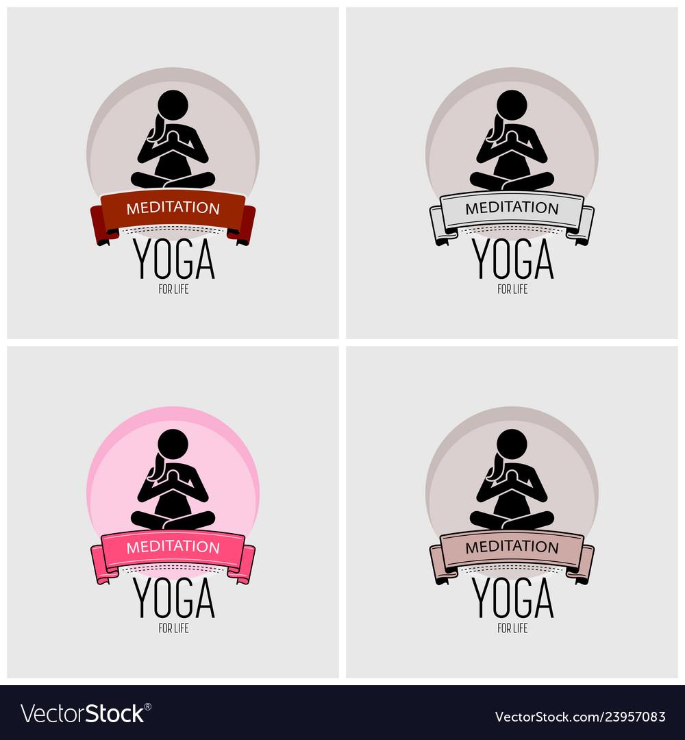 Yoga logo design artwork of woman practicing yoga