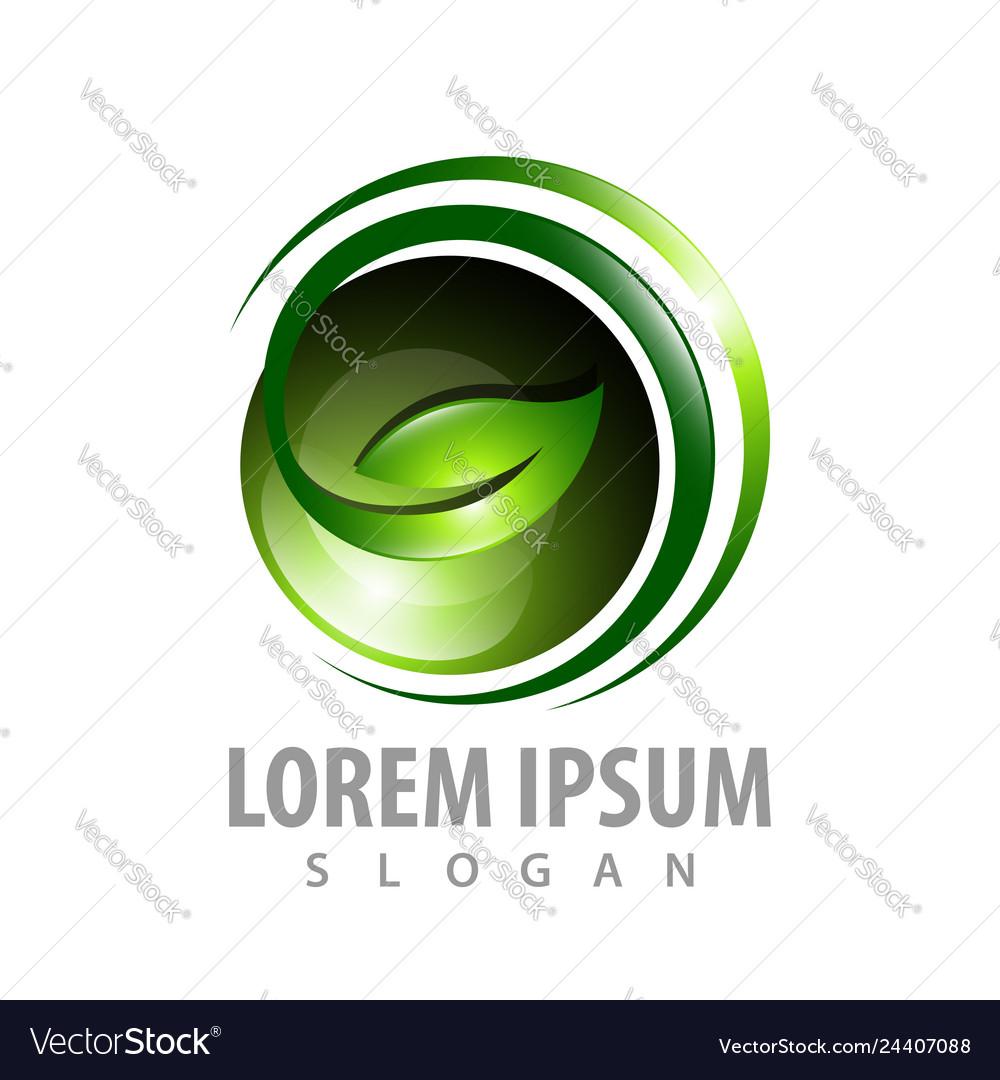 3d sphere leafe concept design symbol graphic