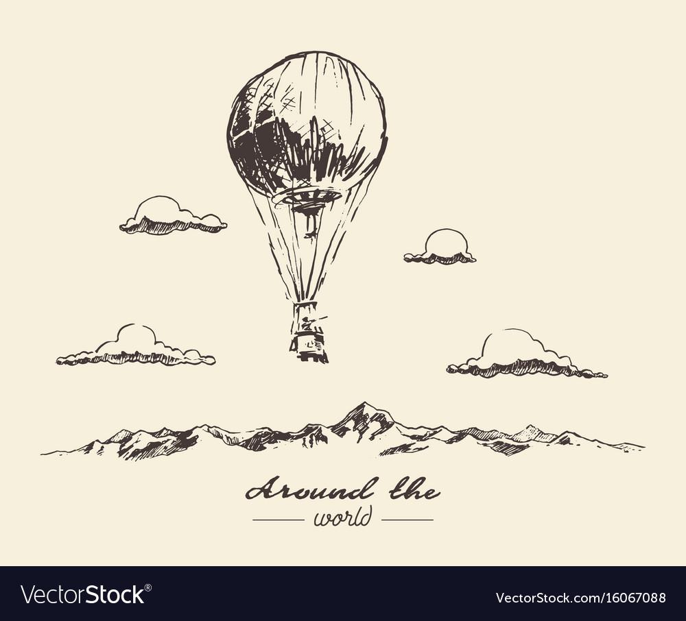 Air balloon mountains adventures sketch vector image