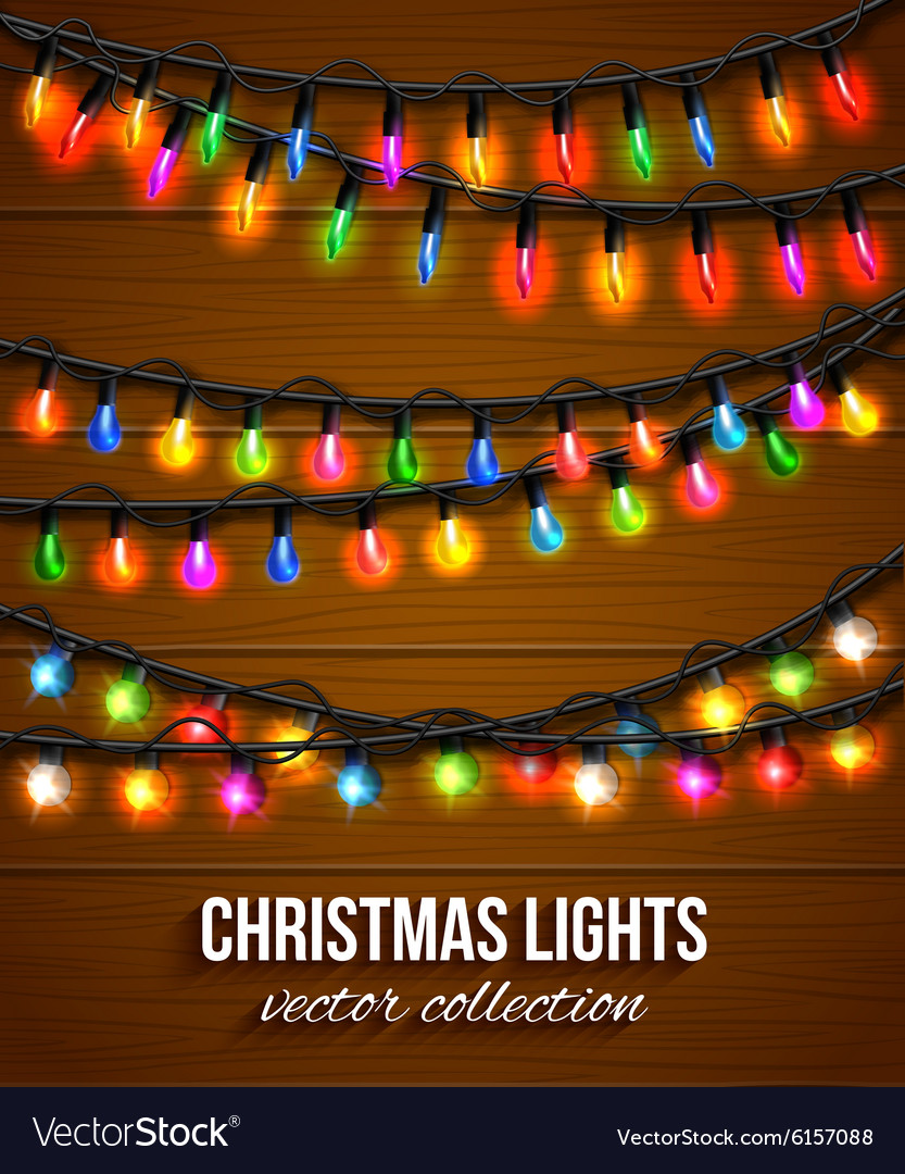 Colorful Christmas Lights Background.Colorful Christmas Light Bulbs Collection For