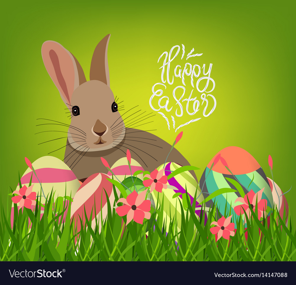 Easter eggs and bunny spring with flower
