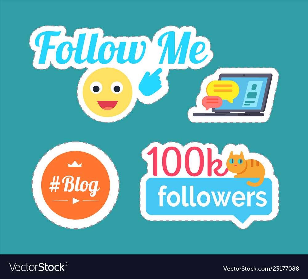 Follow me smile emoticon and follower set