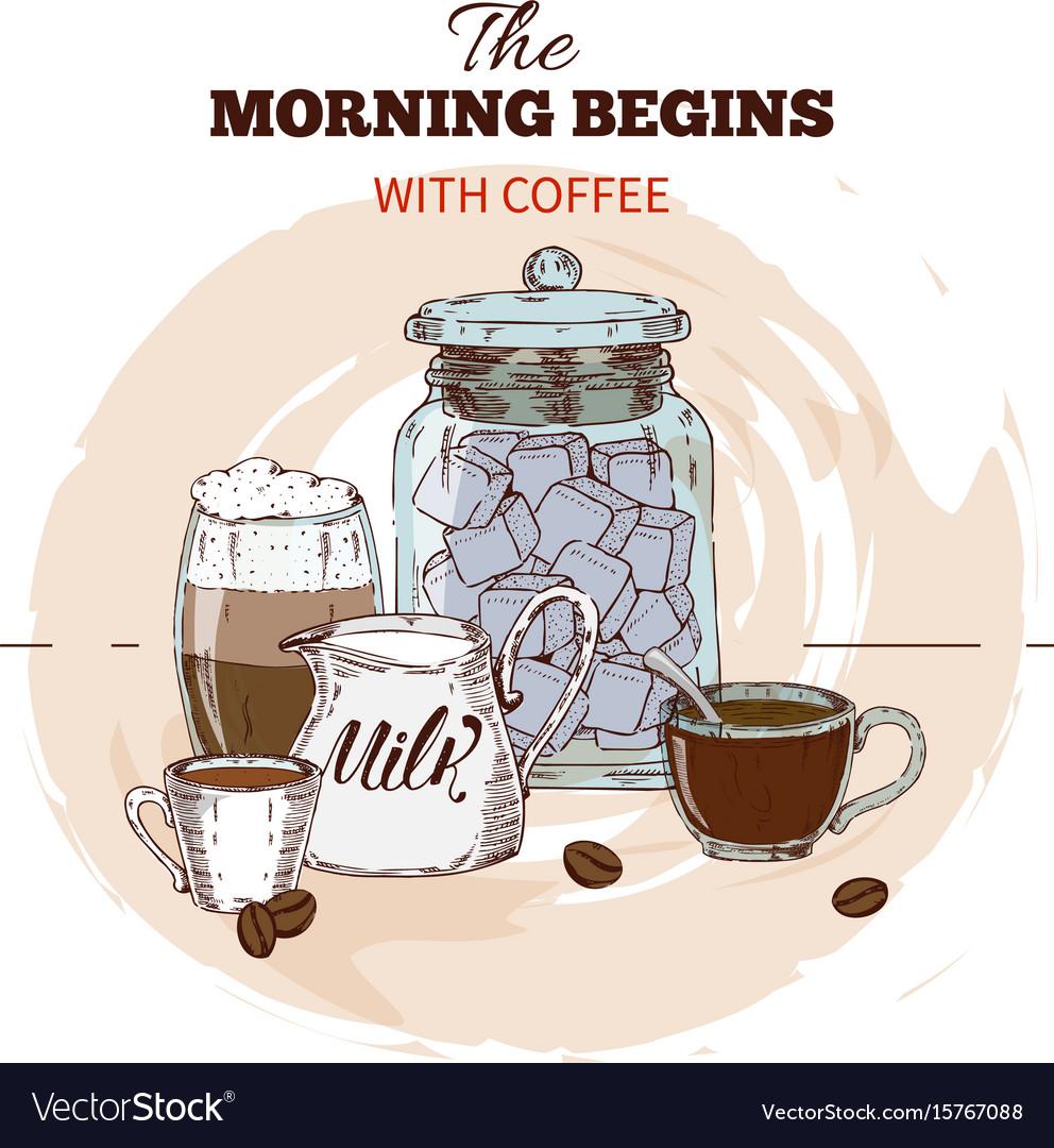 Morning coffee hand drawn round design