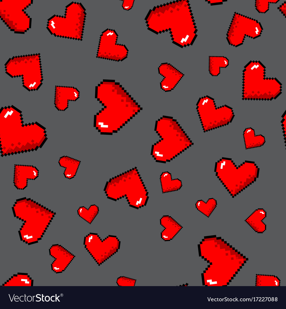 Pixel hearts pattern