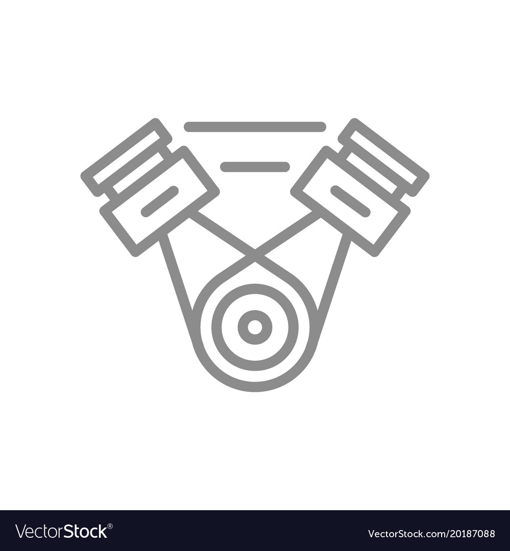 Simple car engine motor line icon symbol and Vector Image