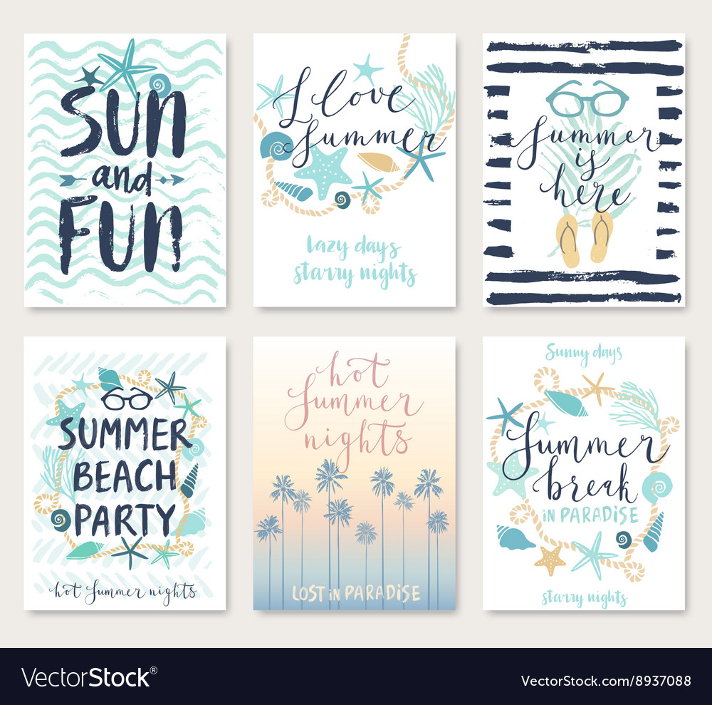 Summer hand drawn calligraphyc card set