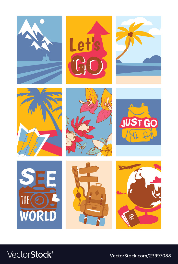 Travelling concept set of banners see the world
