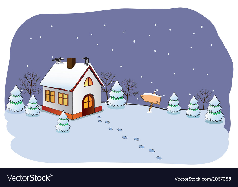 Winter cottage vector image