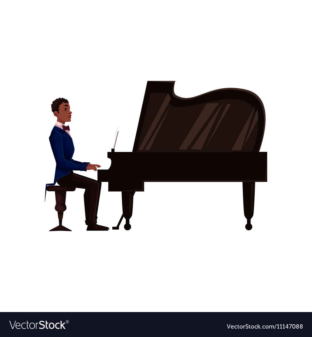 Young African American Man Playing Grand Piano Vector Image