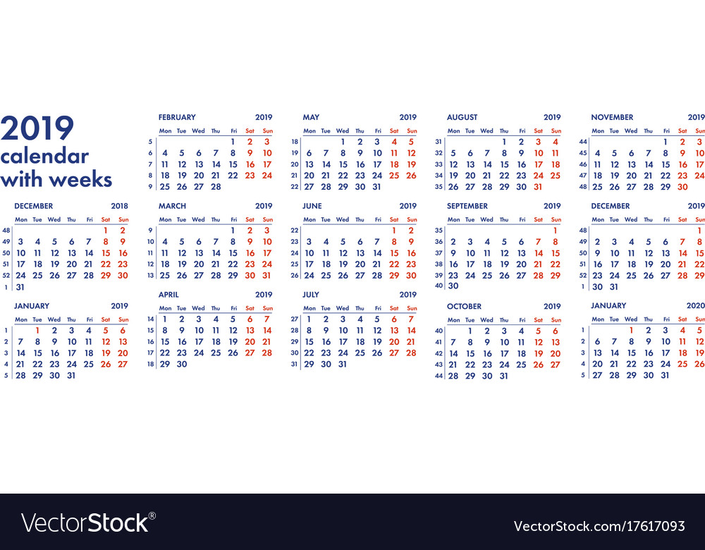 2019 Calendar Weeks 2019 calendar grid with weeks Royalty Free Vector Image