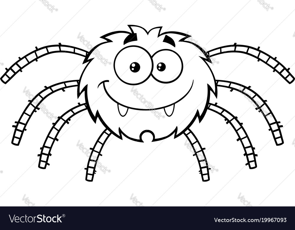 Black and white funny spider cartoon character