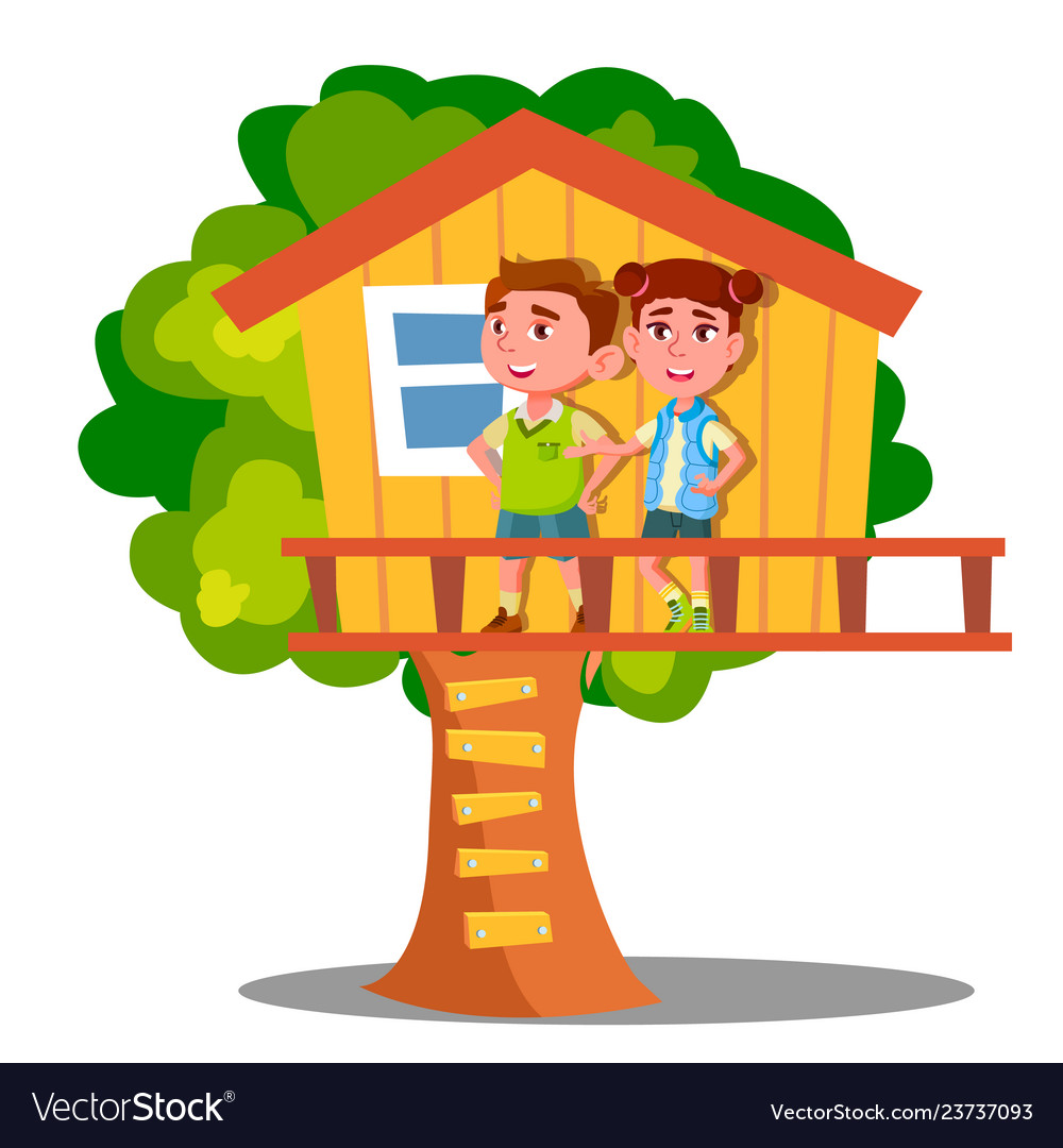 Boy and girl kid playing on tree house