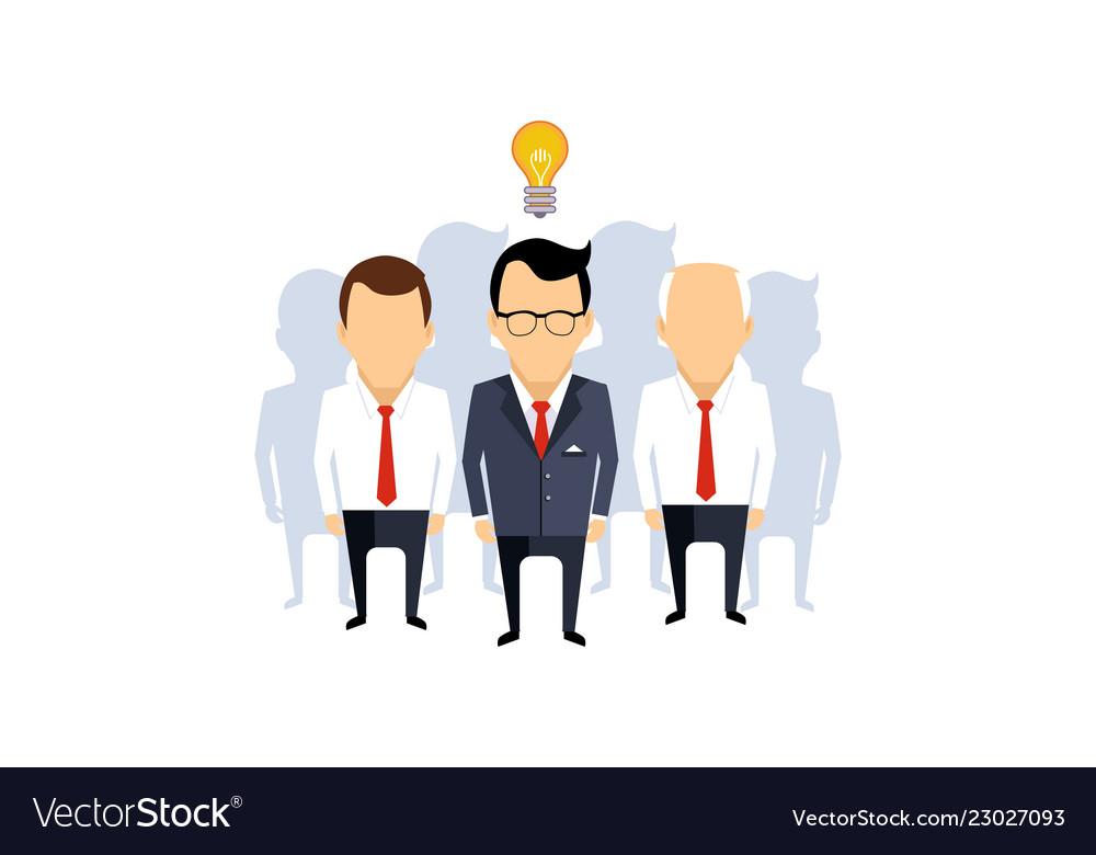 Business idea team leader thinking man with idea
