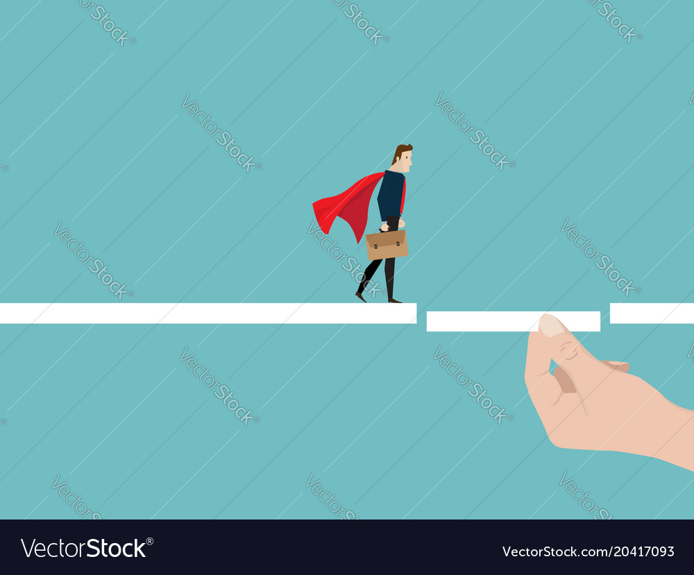 Businessman walking on the way with helping hand vector image