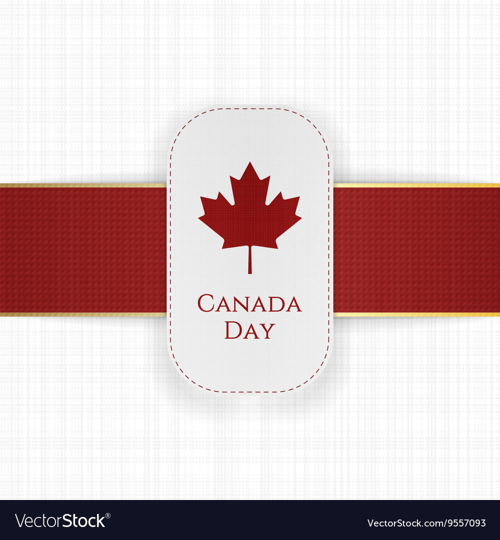 Canada Day paper Label with red Ribbon