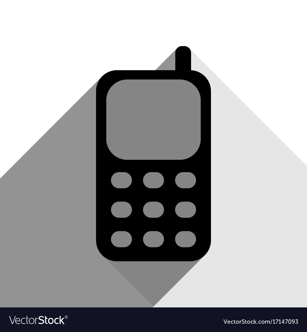 Cell phone sign black icon with two flat