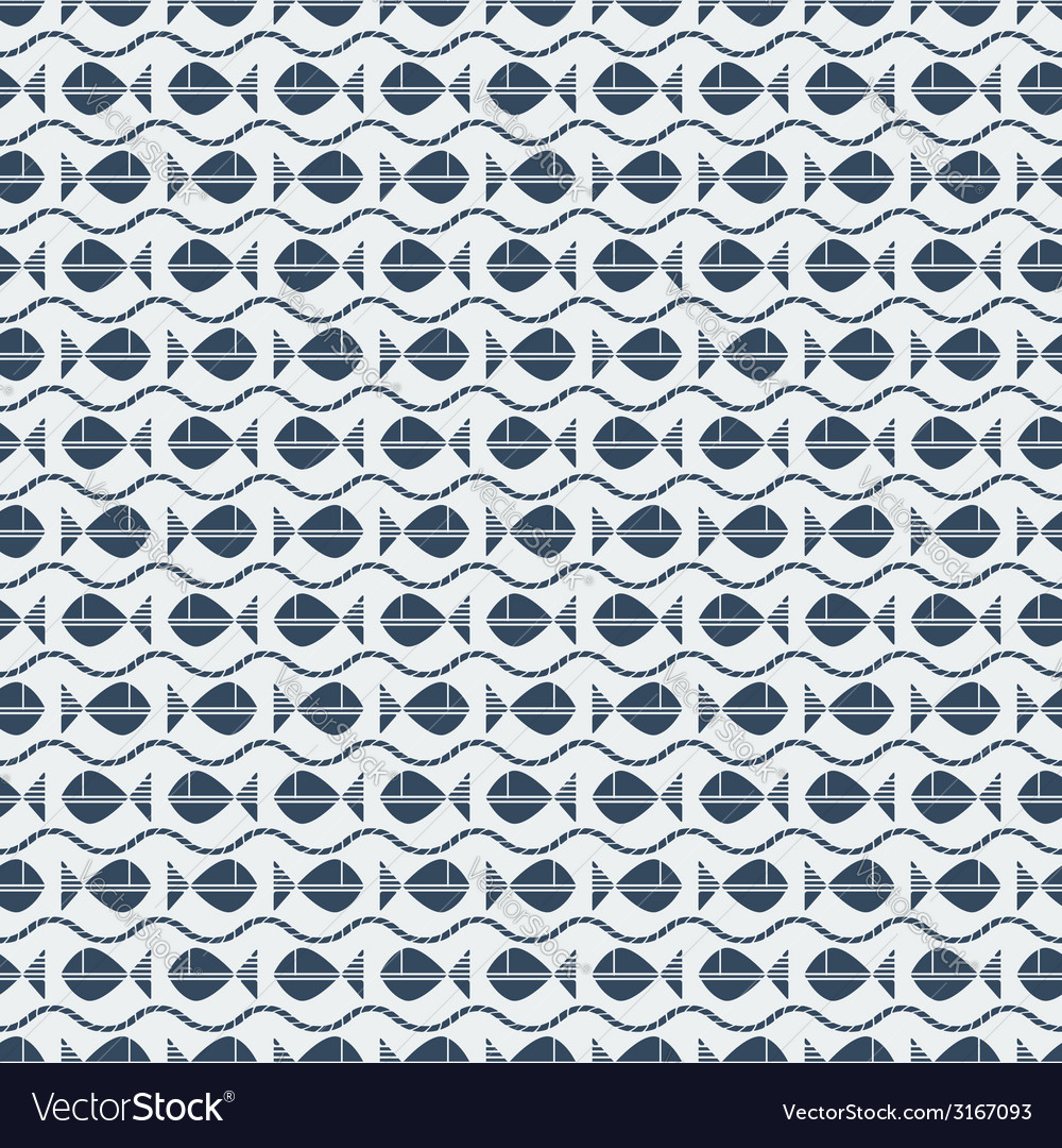 Fish and waves seamless pattern