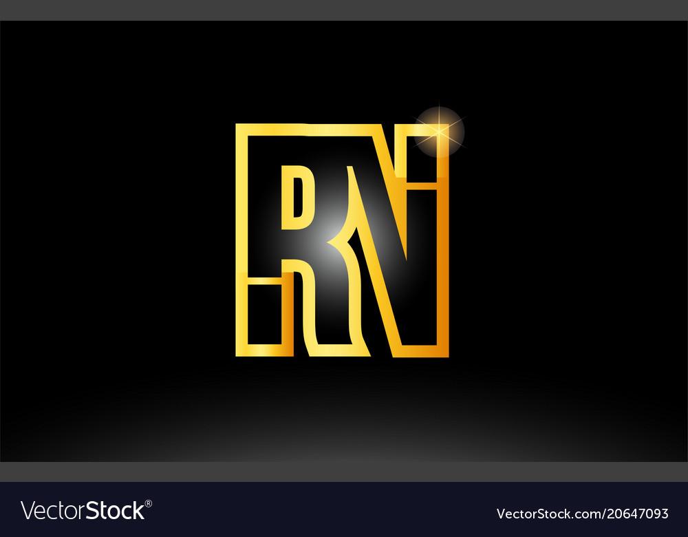 Gold black alphabet letter rn r n logo royalty free vector gold black alphabet letter rn r n logo vector image altavistaventures Images
