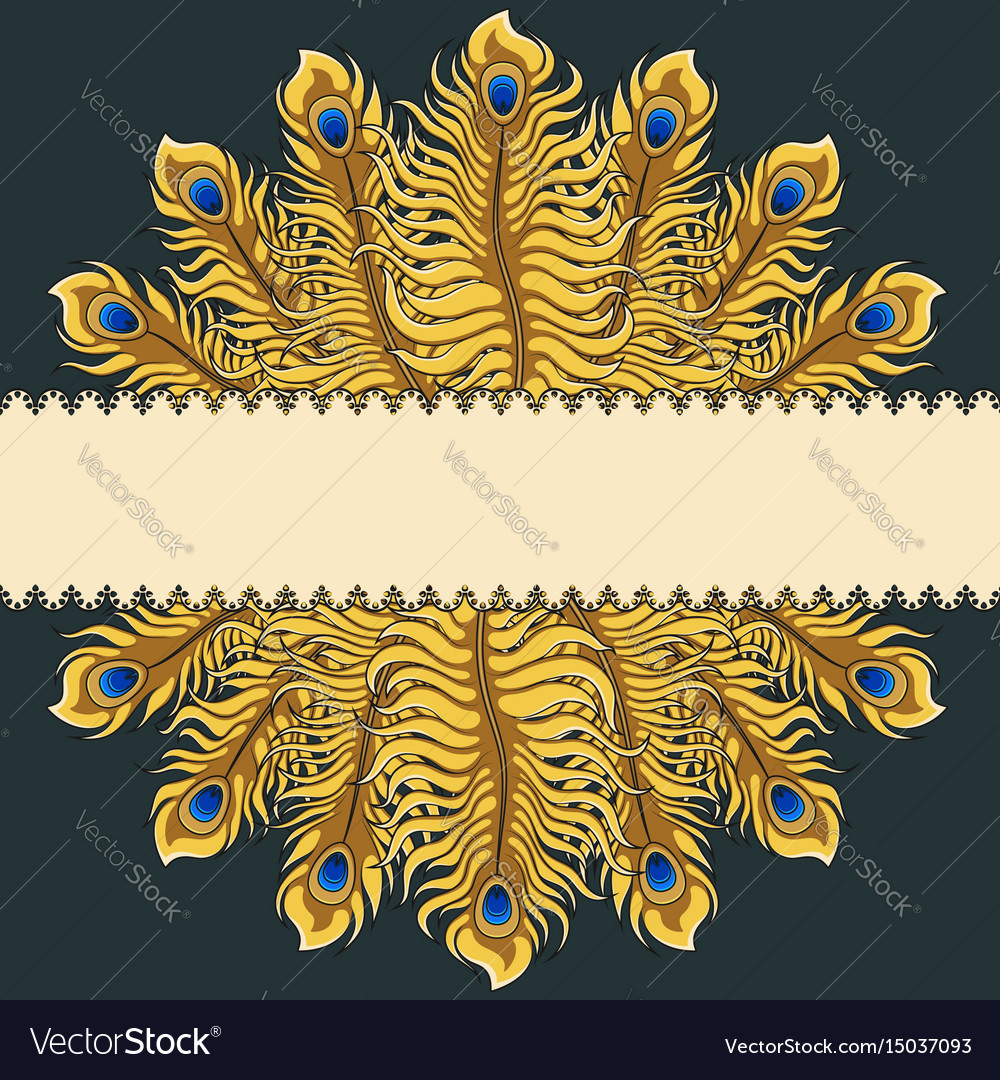 Greeting card with gold peacock feathers ribbon
