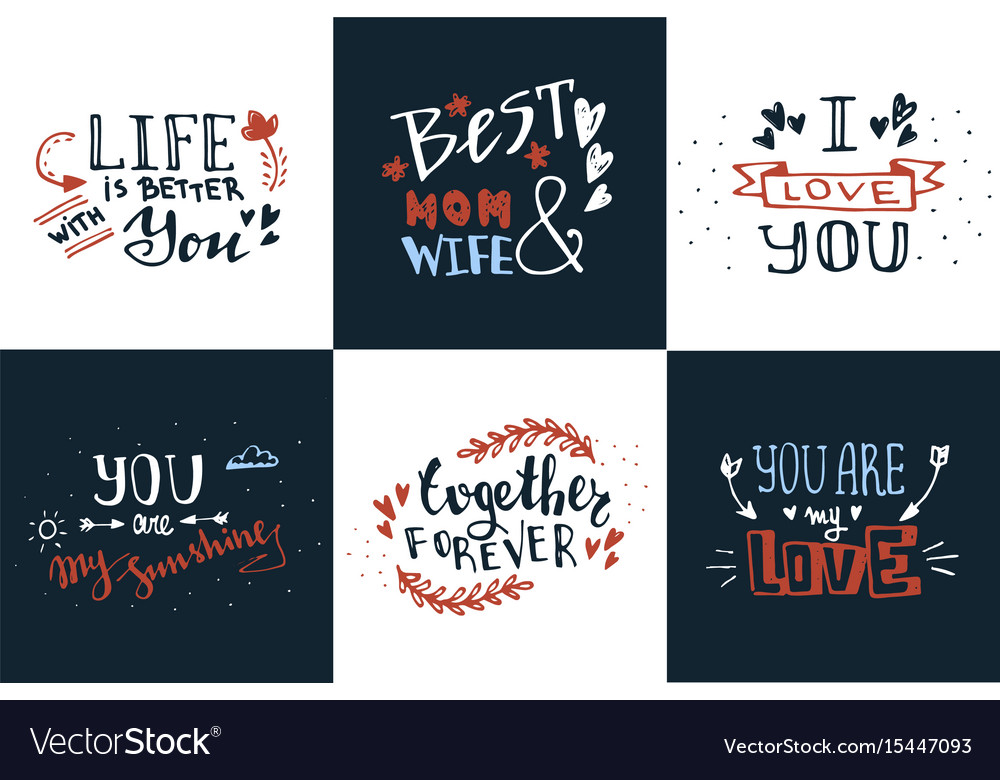 Hand Drawn Doodle Sketch Love Quotes Set Vector Image