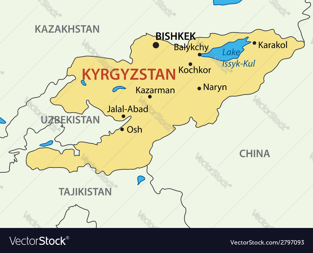 kyrgyz republic kyrgyzstan map vector image