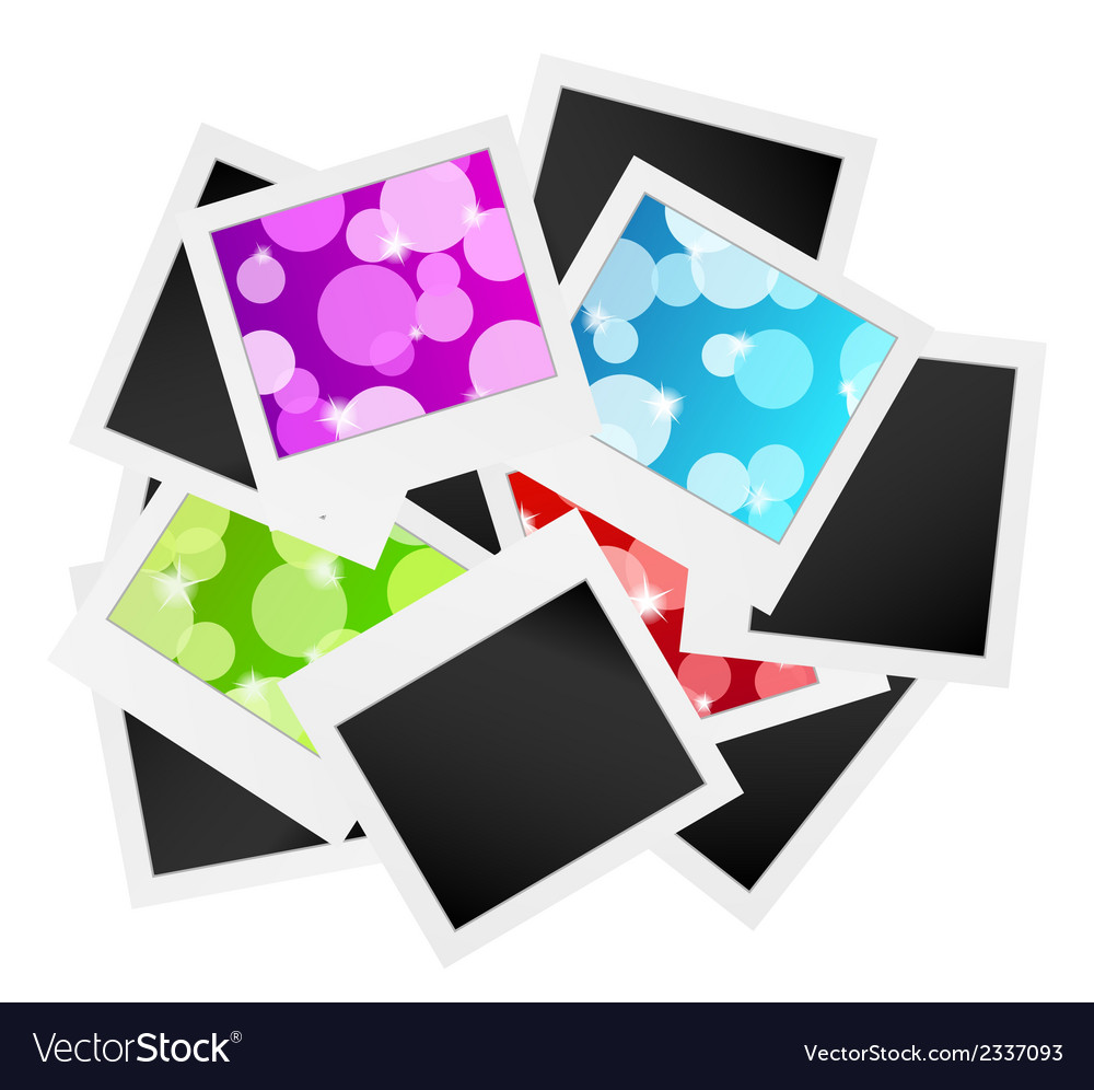 Photo frame collection with bubbles or blank vector image