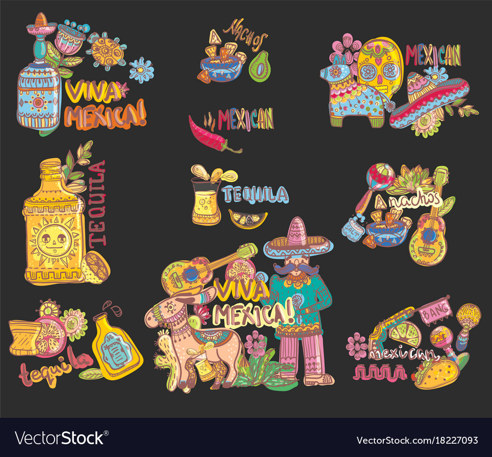 Set of mexico vector image
