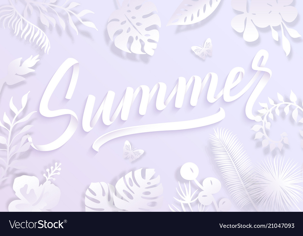 Summer background with paper cut tropical palm