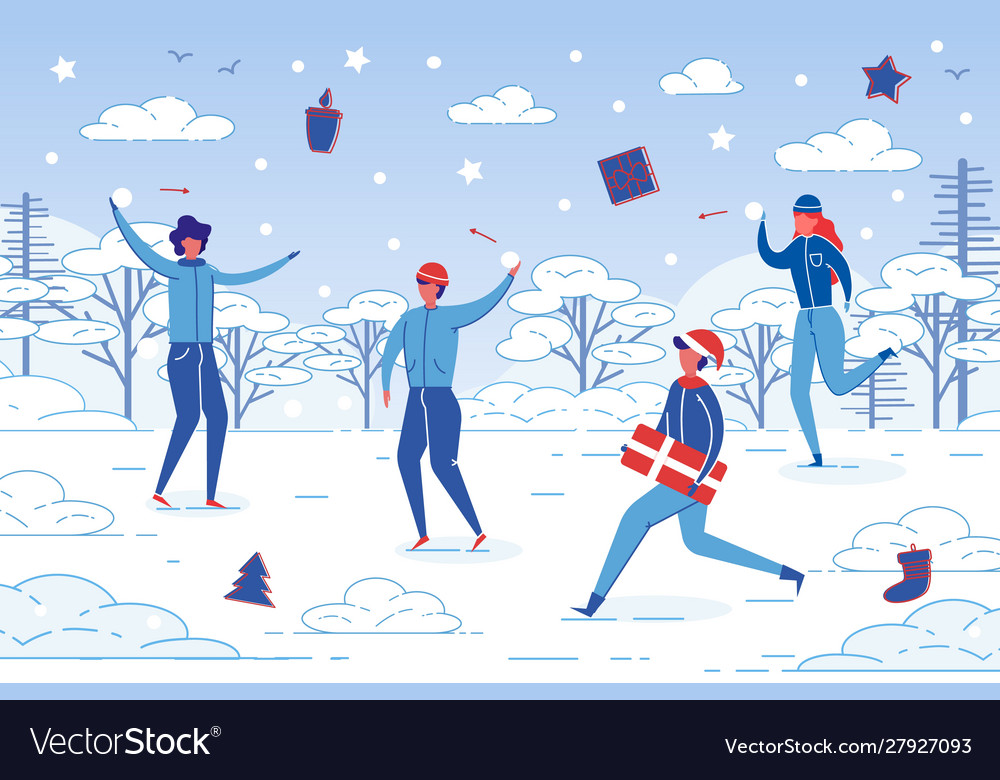 Winter outdoor activity - people fun together