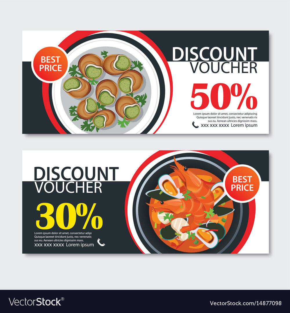 Discount voucher french food template design set