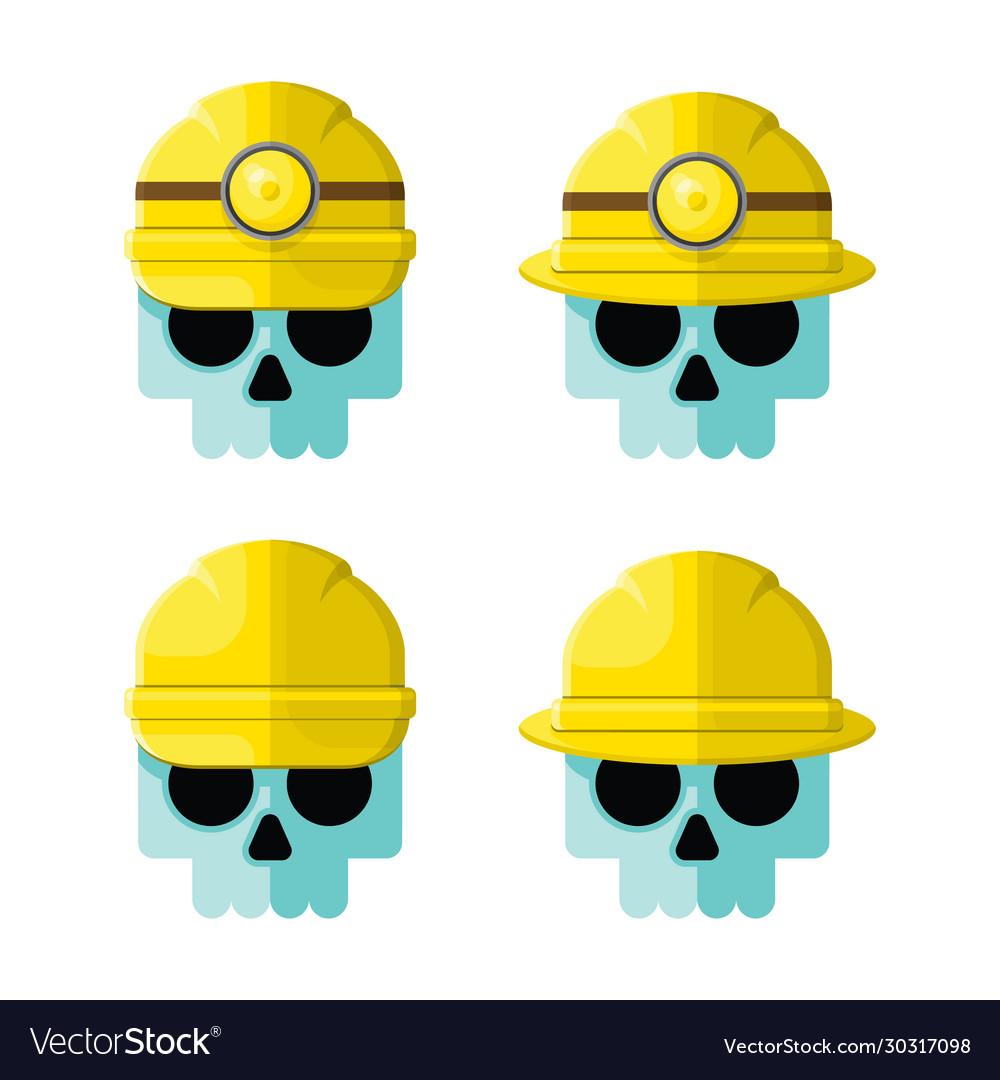 Hard hat skulls flat icon set