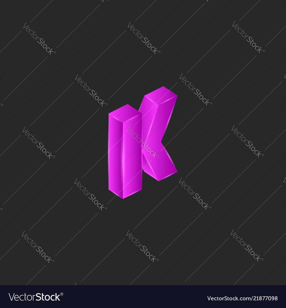 Latin letter k logo modern isometric shape pop