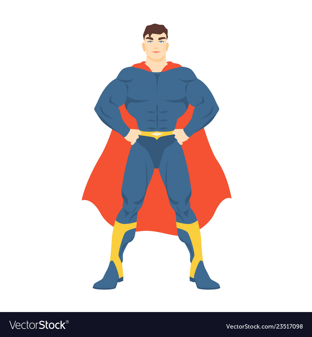 Male superhero or superman man with muscular body