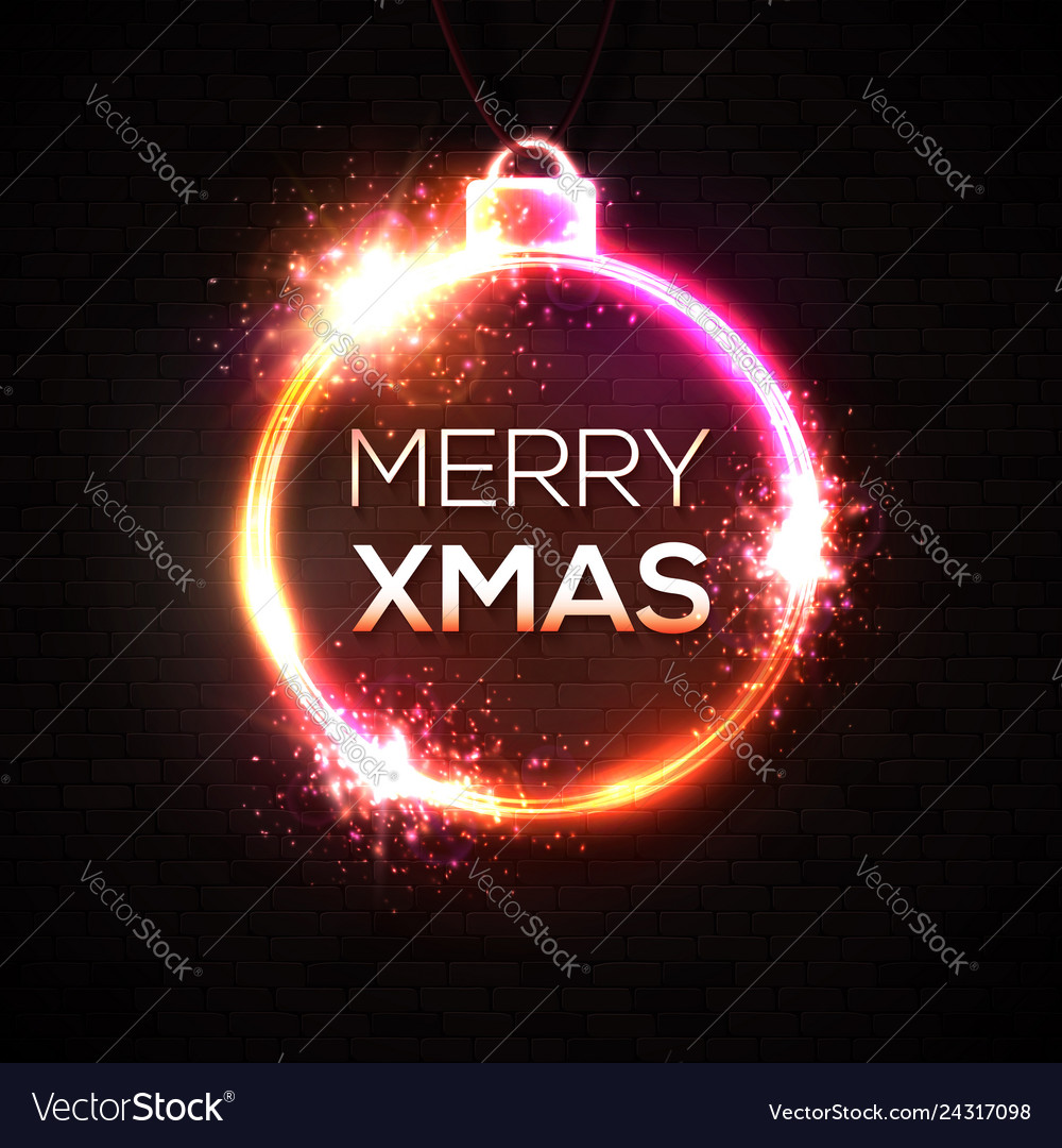 Merry christmas neon sign bright signboard